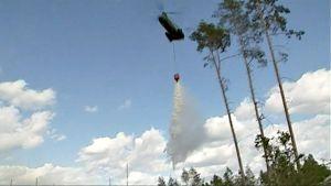 Helokopteri pudottaa vettä metsäpaloalueelle.