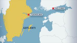 Valas havaittiin Gotlannin itäpuolella.