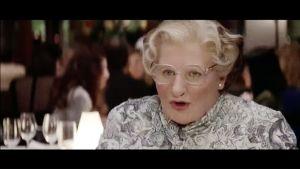 Robin Williams Mrs. Doubtfire – isä sisäkkönä -elokuvassa.