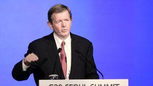 Teollisuusjohtaja Marcus Wallenberg puhuu G-20 -kokouksessa Soulissa Etelä-Koreassa 11. marraskuuta 2010.