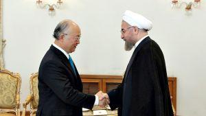 Yukiya Amano ja Hassan Rowhani.