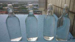 Vettä pulloissa Kemin kaupungintalon katolla.