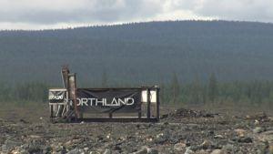 Kaivosyhtiö Northlandin standi Hannukaisen suunnitellulla kaivosalueella Kolarissa 19.8.2014