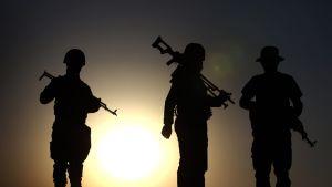 Irakilaisia peshmerga-taistelijoita Aski kalakissa, Pohjois-Irakissa, 14. elokuuta.