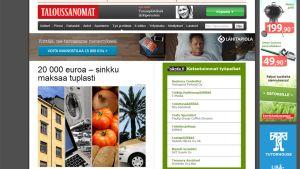 Kuvankaappaus Taloussanomien artikkelista.