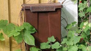 Kuvassa postilaatikko puutalon seinässä.