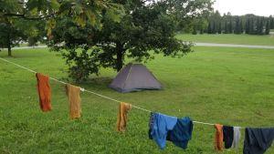 Teltta puistossa