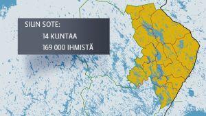 Kartalla Pohjois-Karjala ja Heinävesi sekä alueen asukasmäärä eli 169 000 ihmistä.