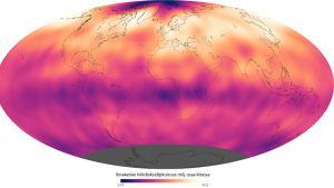 Nasan kartta ilmakehän keskimääräisistä hiilidioksidipitoisuuksista toukokuun 2013 aikana.