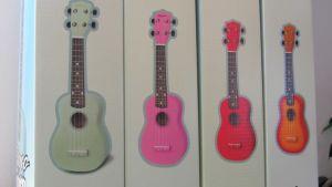 Eri värisiä ukuleleja paketissa.