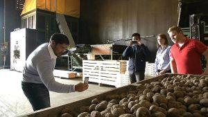 Kazakstanilaiset vierailulla perunatilalla Tyrnävällä.
