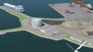 Havainnekuva Tornioon rakennettavasta LNG-teminaalista