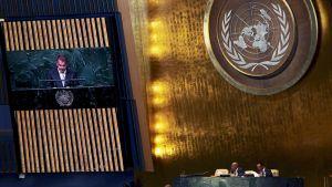 Presidentti Sauli Niinistö puhui alkuperäiskansojen maailmankonferenssissa YK:n päämajassa New Yorkissa 22. syyskuuta.