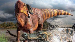 Taiteilijan näkemys myöhäisellä liitukaudella 75 miljoonaa vuotta sitten eläneestä Rhinorex condrupus -dinosauruksesta.