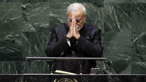Intian pääministeri Narendra Modi puhui YK:n yleiskokouksessa New Yorkissa 27. syyskuuta.