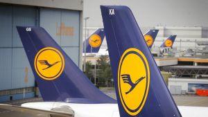 Lufthansan lentokoneita lentokentällä Saksan Frankfurtissa.