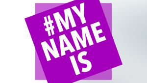 Vaaleanpunainen #MY NAME IS -logo.
