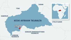 Keski-Afrikan tasavalta kartalla.