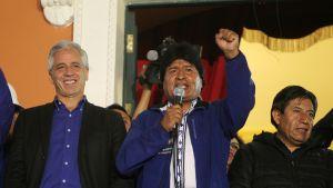 Bolivian presidentti Evo Morales julistautui vaalien voittajaksi 12. lokakuuta 2014.