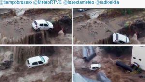 Twitter-kuvissa auto suistuu tulvassa tieltä