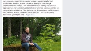 Jesse Keskisen oppisopimuspaikkahakemus Facebookissa.