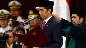 Indonesian uusi presidentti Joko Widodo vannoi virkavalan 20. lokakuuta 2014 Jakartassa, Indonesiassa.