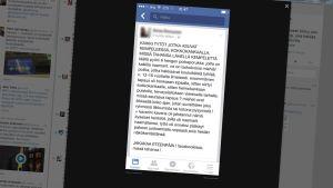 Nuoria tyttöjä varoitetaan poikaporukasta Facebook-viestissä.