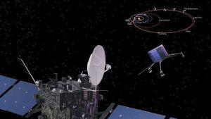 Taiteilijan näkemys  Rosetta-luotaimesta.
