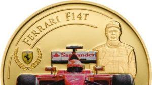 Kimi Räikkösen muotokuva Ferrari-kultarahassa.