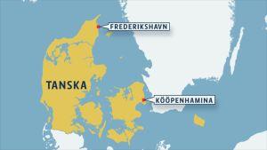 Kartta Frederikshavnin sijainnista.