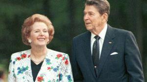 Yhdysvaltain presidentti Ronald Reagan ja Britannian pääministeri Margaret Thatcher Torontossa 1980-luvulla.
