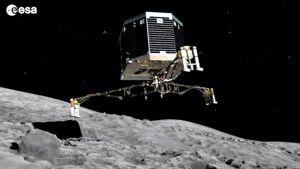 Laskeutuja lähetymässä komeetan pintaa.