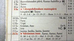 Almanakka on täynnä hyviä nimiä lapsille, mutta nimiä valitaan myös nimipäiväkalenterin ulkopuolelta.