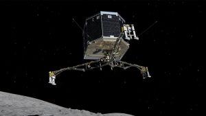 Havainnekuva Philaesta laskeutumassa komeetan pinnalle.