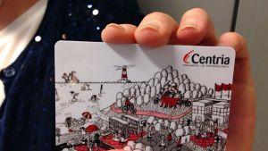 Elina Warstan kuvittama Centria-ammattikorkeakoulun kirjastokortti.