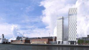 Havainnekuva Jätkäsaareen nousevasta hotellista.