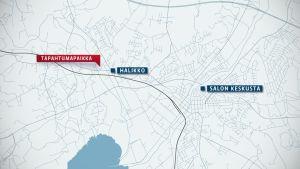 Salon seudun kartta, jossa korostettuna Halikon kirkon alue.
