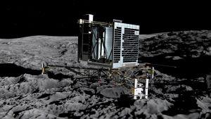 Philae-laskeutuja komeetan pinnalla.