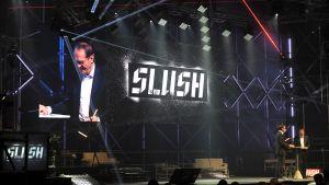 Nokian entinen toimitusjohtaja, Shellin hallituksen puheenjohtaja Jorma Ollila on esiintynyt Slushissa useita kertoja. Tässä vuonna 2014.
