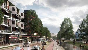 Hämeenlinnanväylä voi näyttää tältä vuonna 2050, jos siitä tulee kaupunkibulevardi.