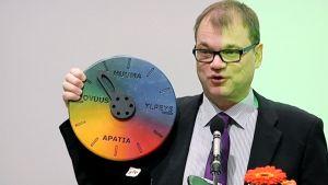 Juha Sipilä esittelee uuden organisaatiokakkaran Keskustan puoluekokouksessa Porissa 22.11.2014.