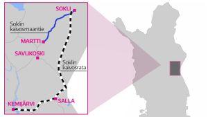 Kartta, jossa paikkakunnat Kemijärvi, Salla, Savukoski, Martti ja Sokli. Merkittynä myös Soklin kaivosradan ja kaivosmaantien reitit.
