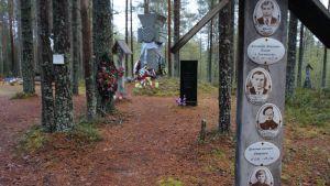 Uhrien muistomerkkejä Sandermohissa