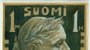 Postimerkkiluonnoksessa Sibelius sivuprofiilista kuvattuna päässään seppele.