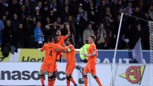Brugge juhlii 1-0-maalia HJK:a vastaan lokakuussa.