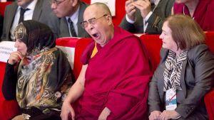 Dalai Lama haukottelee katsomossa