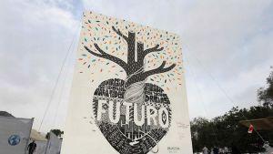 Espanjalaiset taiteilijat Javier Serrano ja Pablo Puron olivat tehneet isokokoisen graffitityön ilmastomuutoksen pysäyttämiseksi.