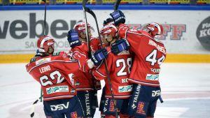HIFK:in pelaajat juhlivat maalia.