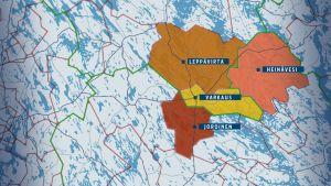Leppävirta, Varkaus, Joroinen ja Heinävesi kartalla