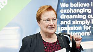 Presidentti Tarja Halonen Future Infinite -konferenssissa Helsingissä 12. kesäkuuta 2014.